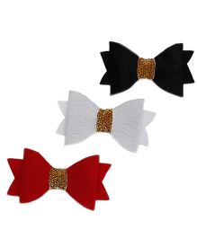 D'chica The Pretty Bows Set Of 3 Clips For Girls - Red White Black