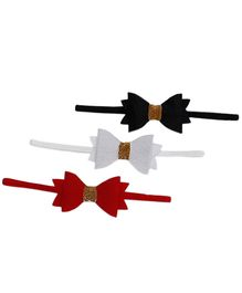 D'chica Set Of 3 We Are So Pretty Bows Headbands - Red White Black