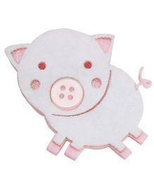 D'chica Cute Little Piggy Clip - Pink & White