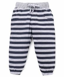 Babyhug Striped Knitted Track Pant - Grey & Navy Blue