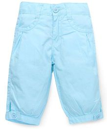 Babyhug Four Pocket Cotton Capri - Aqua Blue