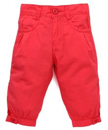Babyhug Four Pocket Cotton Capri - Coral
