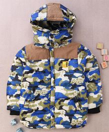 Superfie Camouflage Hooded Winter Jacket - Blue