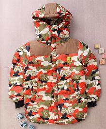 Superfie Camouflage Hooded Winter Jacket - Orange