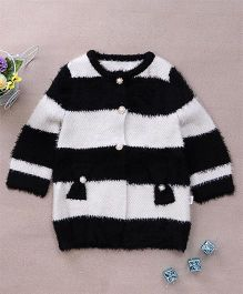 Superfie Woolen Buttoned Party Wear Sweater - White & Black