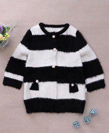 Superfie Woolen Buttoned Party Wear Sweater - White & Black