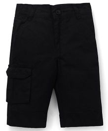 Babyhug Cotton Three Fourth Pants - Black