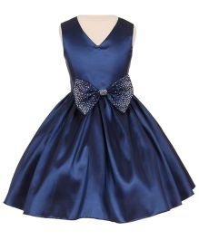 Pink Wings Girls Party Wear Dress - Navy Blue