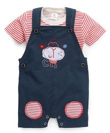 Cucumber Dungaree Style Romper With Striped Tee - Navy