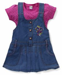 Cucumber Denim Frock With Inner Dotted Top Butterfly Embroidery - Fuchsia Blue