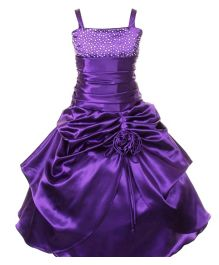 Pink Wings Girls Singlet Ball Gown - Purple