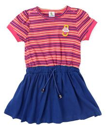 Cucumber Short Sleeves Striped Frock With Elasticated Waist - Pink & Royal Blue