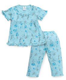 Cucumber Half Sleeves Balloon Printed Top And Pajama Night Suit - Light Sky