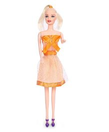 Winni Fashion Doll In Net Dress And Golden Hair Orange - 28 cm