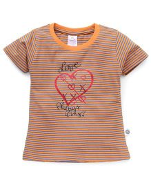 Cucumber Short Sleeves Top Love Always Wins Print - Orange