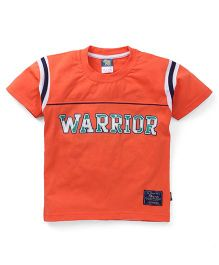 Cucu Fun Half Sleeves T-Shirt Warrior Print - Orange