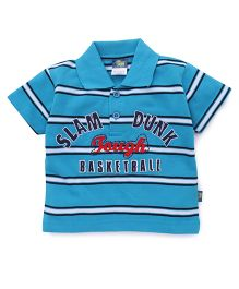 Cucu Fun Half Sleeves T-Shirt Basketball Embroidered Patch - Blue