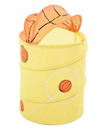 Foldable Storage Bow With Cover Basketball Print - Yellow Orange