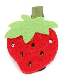 Sugarcart Strawberry Clip With Green Leaves - Red