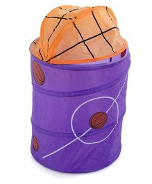 Foldable Storage Bow With Cover Basketball Print - Purple Orange