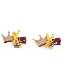 Sugarcart Set Of 2 Crown With Bow & Emblishment Clip - Beige
