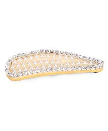 Sugarcart Pearl Tic Tac Clip With Diamond - Yellow