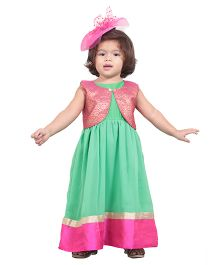 Chubby Cheeks Sleeveless Ethnic Gown And Shrug - Green Pink