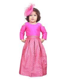 Chubby Cheeks Cold Shoulder Choli And Lehenga - Pink
