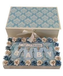 Crack of Dawn Baby Handmade Photo Album Floral Design - Blue