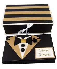 Crack of Dawn Bow Tie Birthday Photo Album - Black & Gold