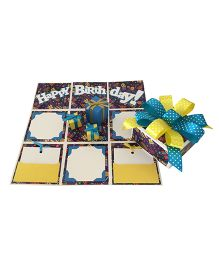 Crack of Dawn Birthday Handmade Explosion Gift Box Party Time Design - Yellow Blue