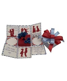 Crack of Dawn Brother Rakhi Handmade Explosion Gift Box Chevron Design - Red Blue