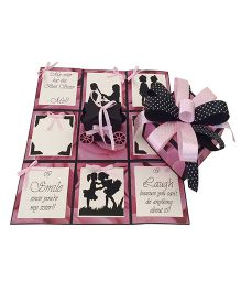 Crack of Dawn Sister Rakhi Handmade Explosion Gift Box Drama Design - Pink