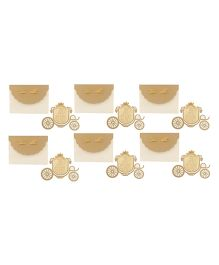 Crack of Dawn Crafts Princess Carriage Birthday Invitations Golden - Pack of 6