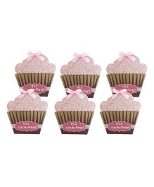 Crack of Dawn Crafts Cupcake Birthday Invitations Baby Pink - Pack Of 6