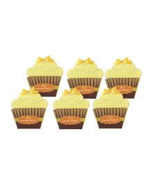 Crack of Dawn Crafts Cupcake Birthday Invitations Yellow - Pack Of 6