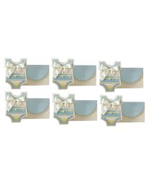 Crack of Dawn Crafts Baby Shower Invitation Vest Soft Stripes Blue - Pack of 6