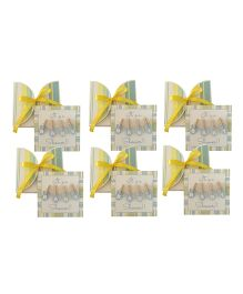 Crack of Dawn Crafts Baby Shower Invitation Clothes Line Soft Stripes Yellow Sage - Pack of 6