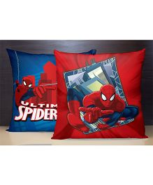 SPACES Reversible Polyester Kids Cushion Cover Spider Man Print - Red Blue