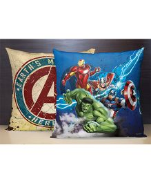 SPACES Reversible Polyester Kids Cushion Cover Avengers Print - Blue