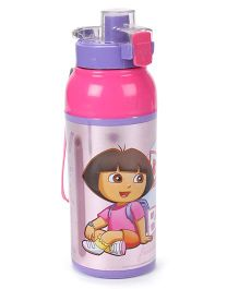 Jewel Cool Splash Insulated Water Bottle With Dora Print - Pink & Purple