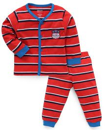 Bodycare Full Sleeves Night Suit Stripes Print - Red