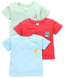 Babyhug Half Sleeves T-Shirt Pack Of 3 - Blue Red Mint Green
