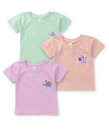 Babyhug Half Sleeves T-Shirt Pack Of 3 - Peach Pink Mint Green