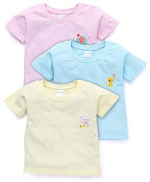 Babyhug Half Sleeves T-Shirt Pack Of 3 - Blue Pink Lemon Yellow