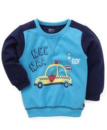 Bodycare Full Sleeves Sweatshirt Car Print - Navy Blue