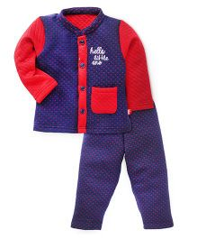 Bodycare Full Sleeves Quilted Night Suit - Navy
