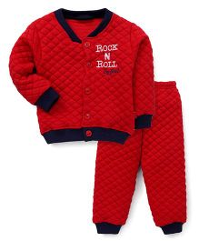 Bodycare Full Sleeves Quilted Night Suit - Red