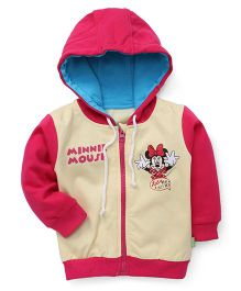Bodycare Full Sleeves Hooded Jacket Minnie Mouse Print - Pink Yellow