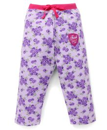 Bodycare Full Length Track Pants Floral Print - Purple
